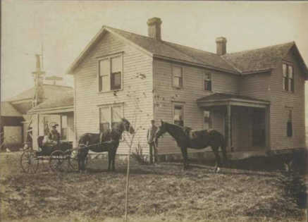 The Lynes family farmhouse with several of their Morgan horses in front. Donated by Merideth Sears.
